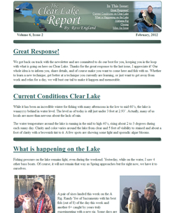 Clear Lake Report - Ross England's Monthly Newsletter Example